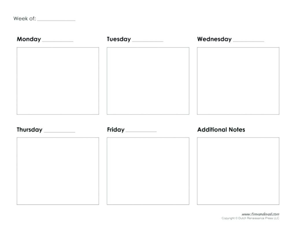 5 Day Blank Calendar | Printable Calendar Templates 2019  5 Day Week Calendar Template