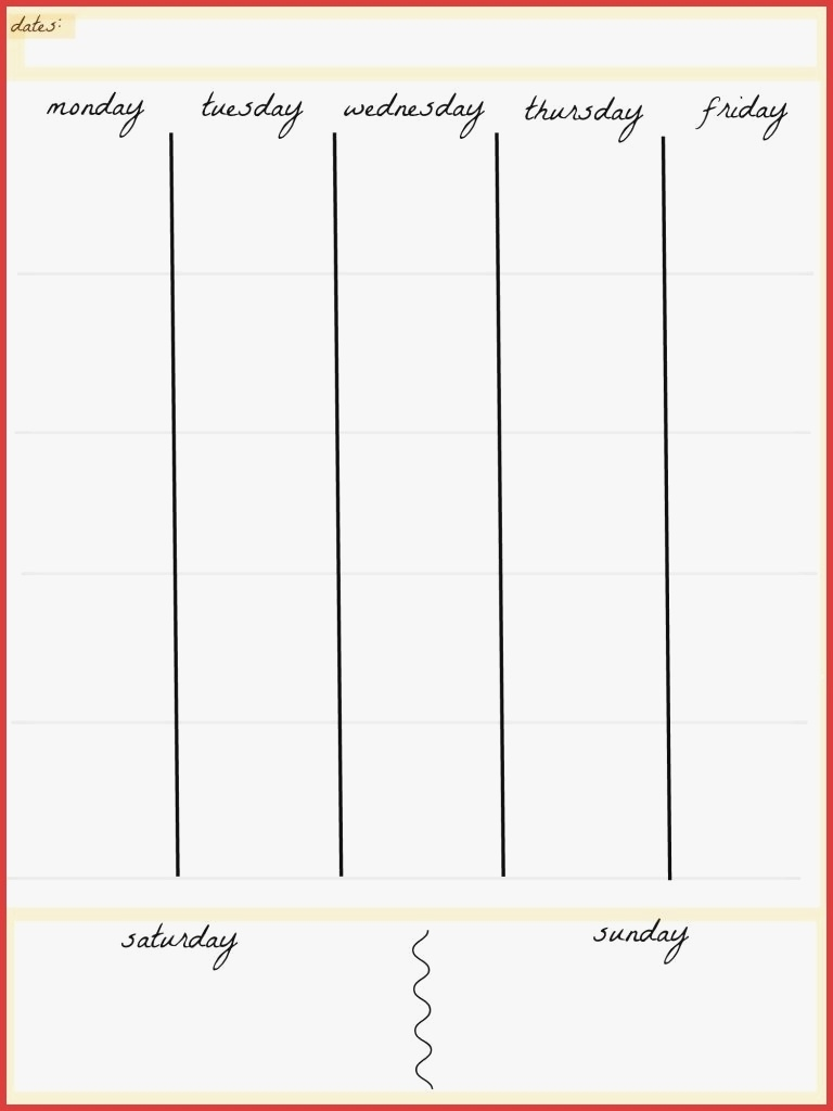 5 Day Planner Template Calendar Awesome Blank Of Compatible For Week  5 Day Week Calendar Template