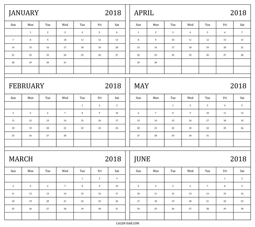 6 Month Calendar | Slidesandnotes  Free Printable 6 Month Calendar