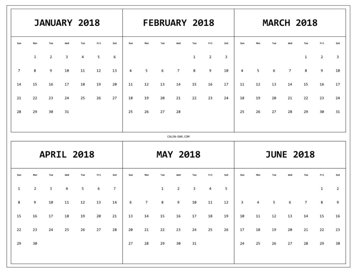 6 Month One Page Printable Calendar 2018 | Maxcalendars | Pinterest  Monthly Calendar On One Page