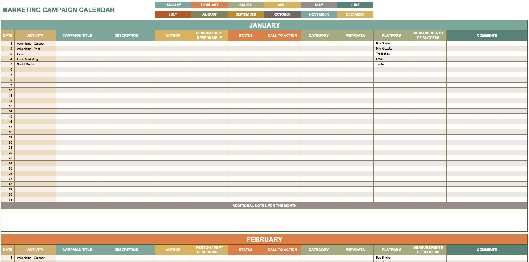 9 Free Marketing Calendar Templates For Excel - Smartsheet  Annual Event Calendar Template Excel
