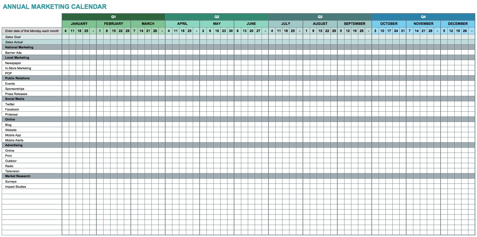 9 Free Marketing Calendar Templates For Excel - Smartsheet  Annual Event Calendar Template Excel