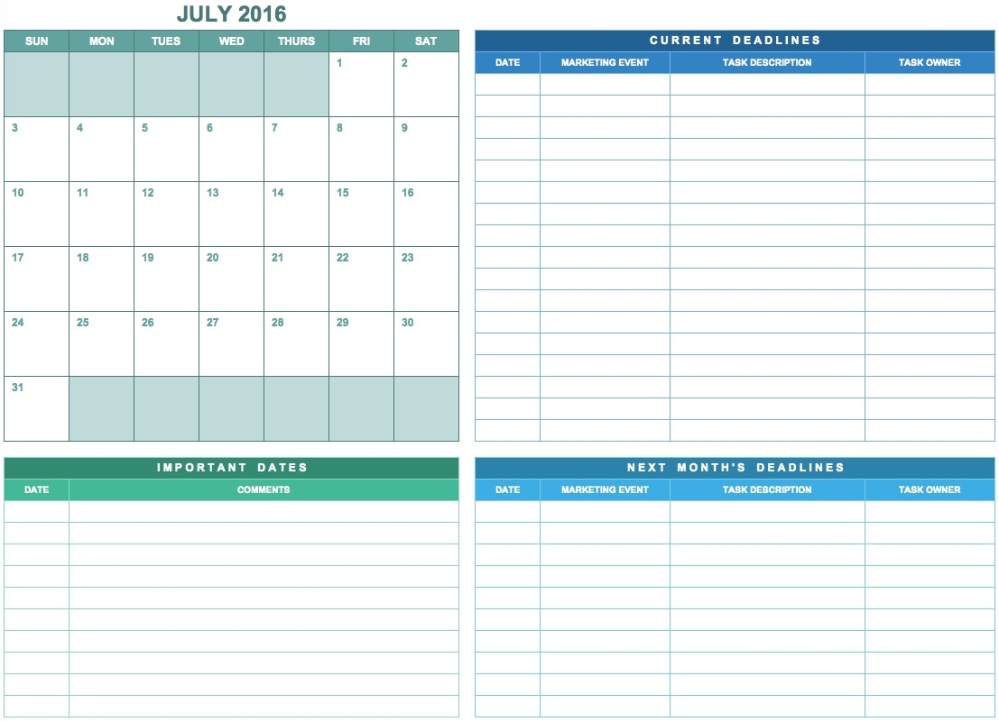 9 Free Marketing Calendar Templates For Excel - Smartsheet  Samples Of Monthly Activity Calendar Templates And Designs