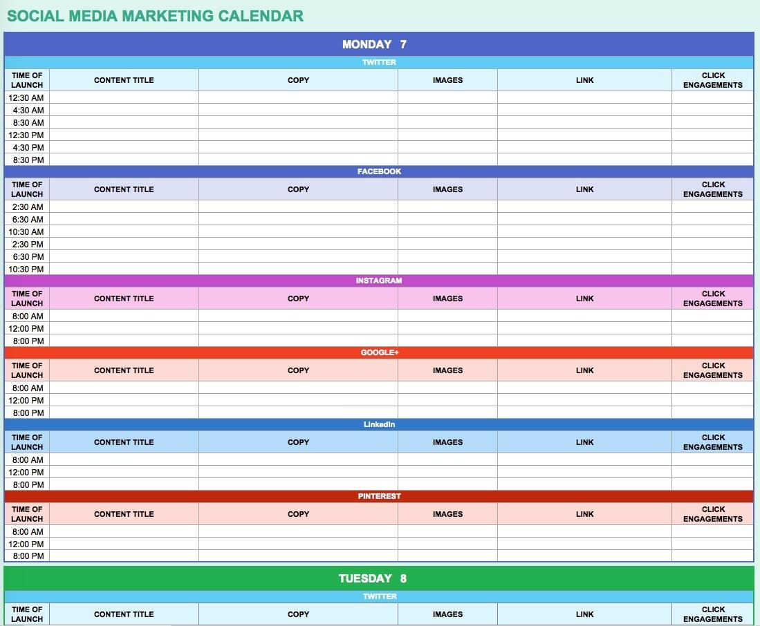 9 Free Marketing Calendar Templates For Excel - Smartsheet  Schedule Of Activities Calendar Format