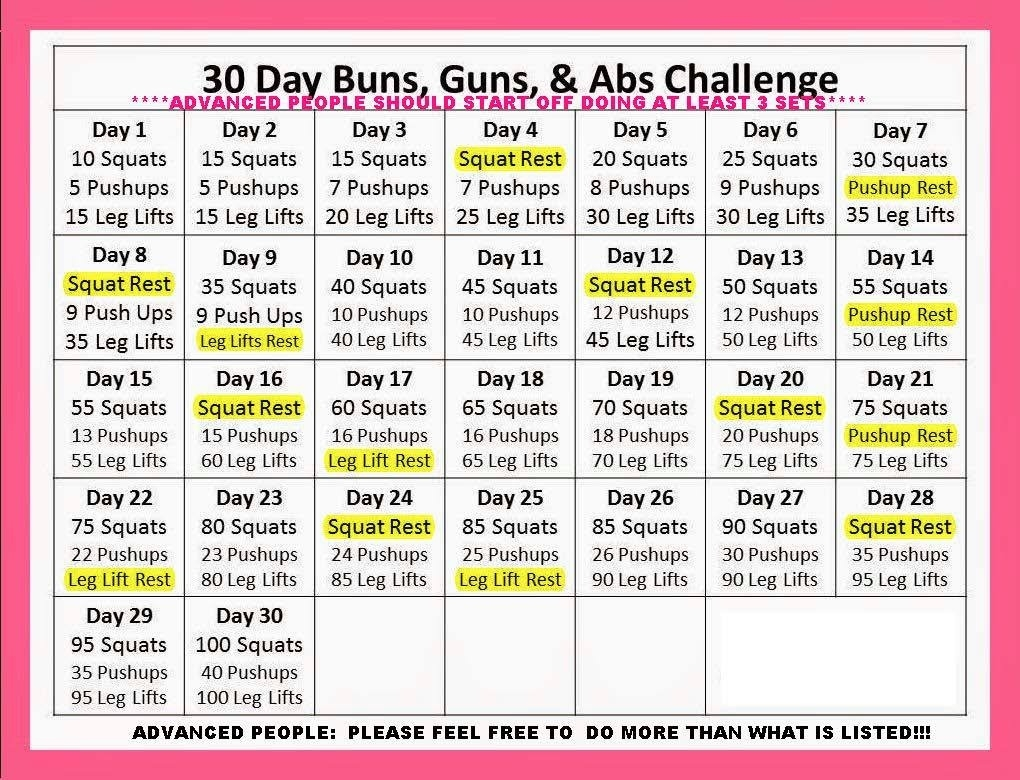 "Abs, Buns And Guns"" - 30 Day Progressive Challenge — Myfitnesspal  30 Day Fitness Challenges Printable Charts"