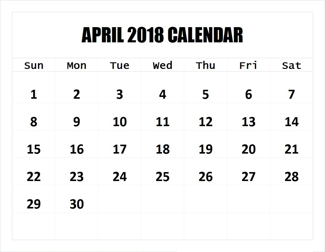 April 2018 Calendar Printable Templates | This Site Provides  Blank 4 Week Calendar Printable