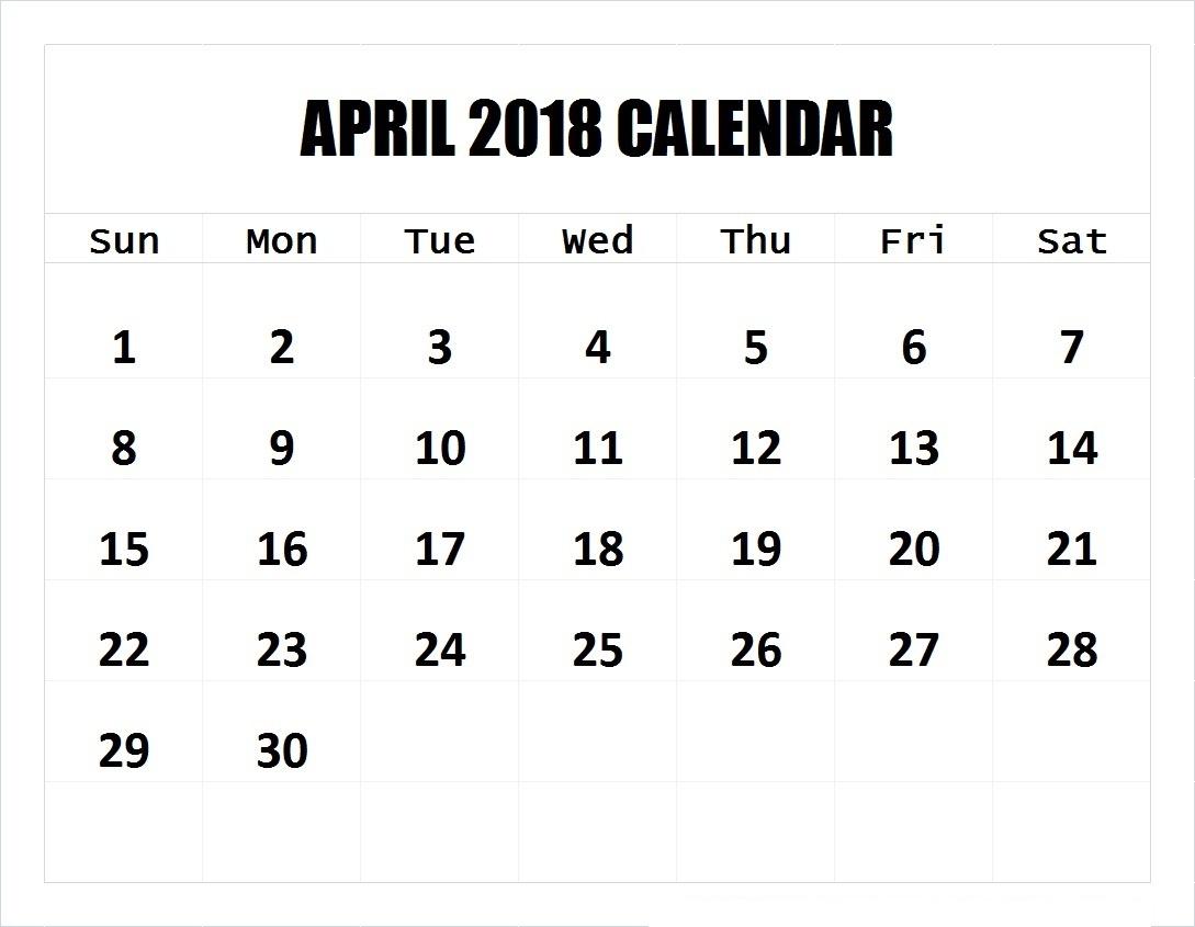 April 2018 Calendar Printable Templates | This Site Provides  Blank 4 Week Calendar Printable