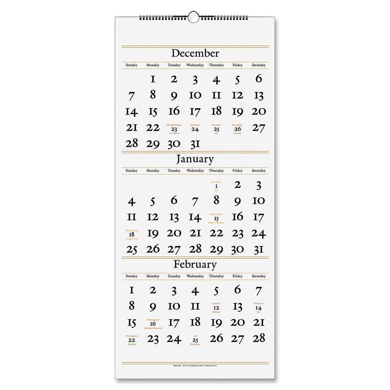 At-A-Glance 3-Months Reference Wall Calendar - Ld Products  3 Months In One Calenadar