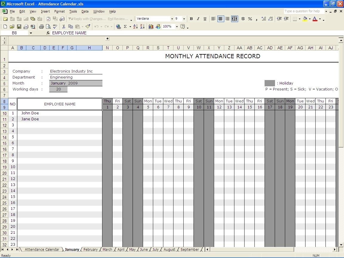 Attendance Calendar | Excel Templates  How To Make Full Year Attendance Sheet