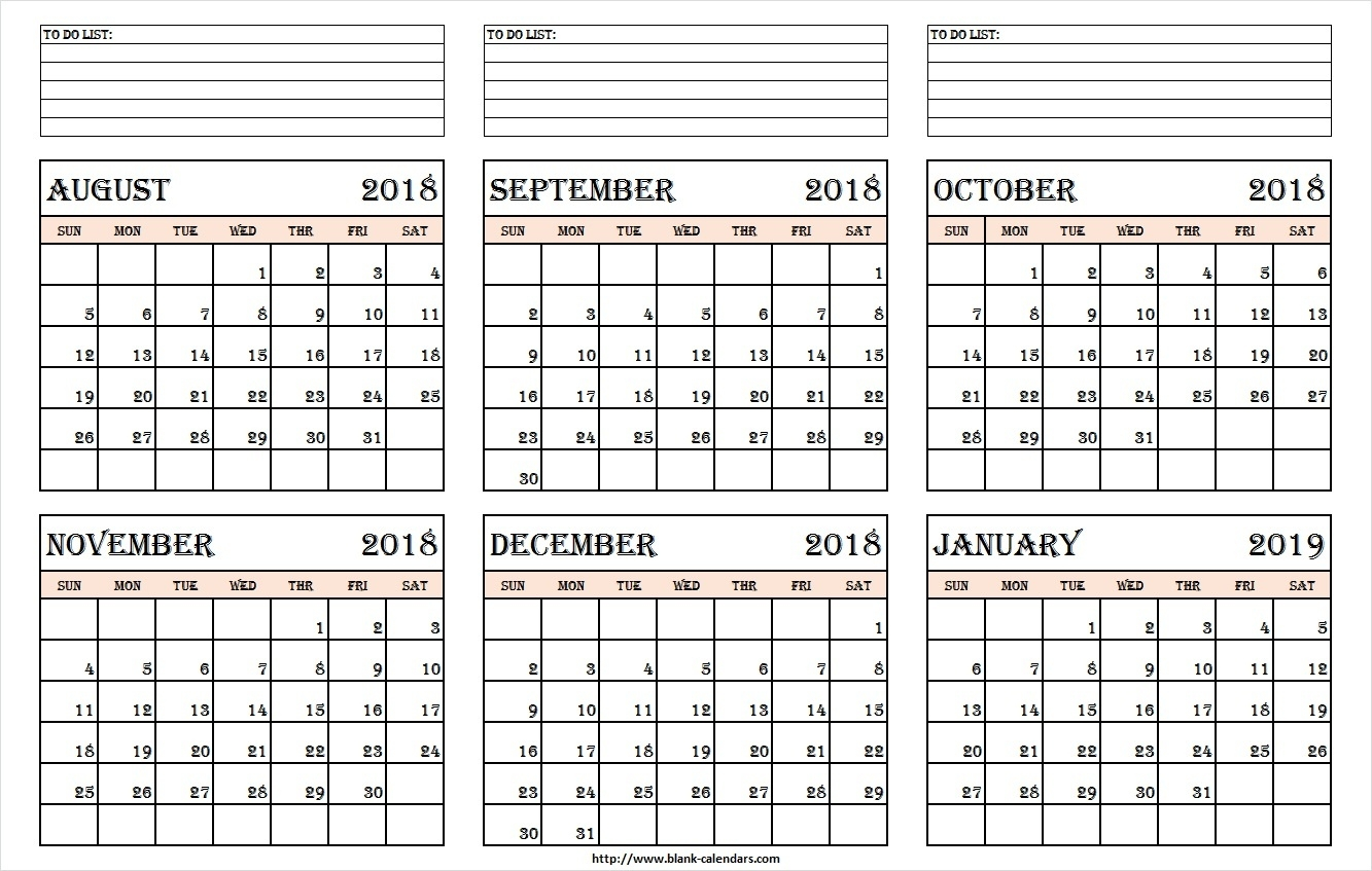 Aug Sep Oct Nov Dec 2018 Jan 2019 Calendar Printable - Print Blank  Calendar Images From Jan To Dec