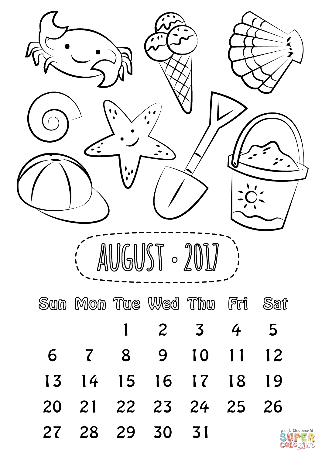 August 2017 Calendar Coloring Page | Free Printable Coloring Pages  August Printable Images To Color