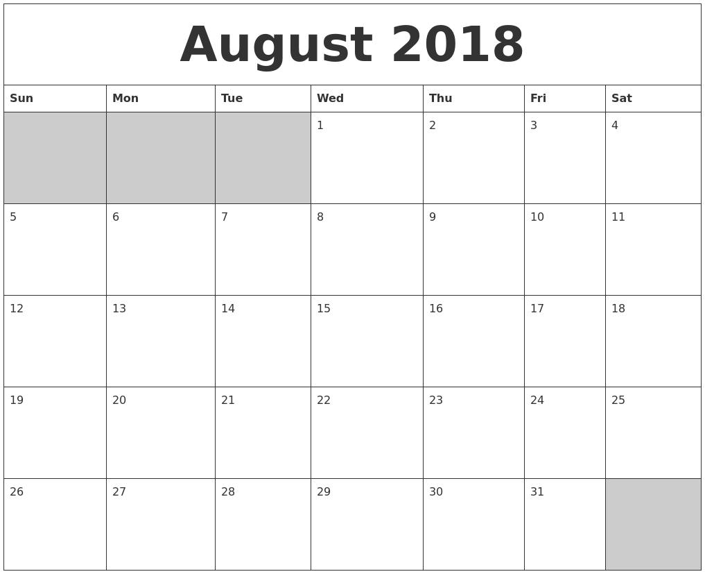 August 2018 Blank Printable Calendar  July And August Blank Calendar