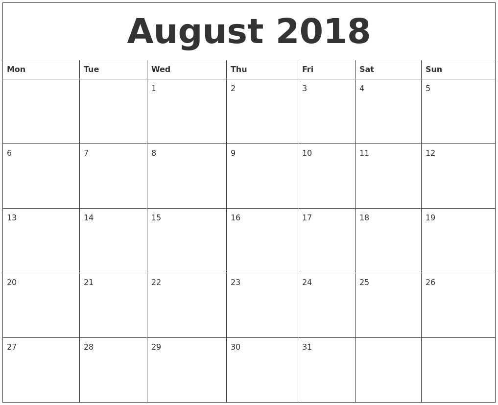 August 2018 Free Printable Calendar Templates  Blank Calendar To Fill In Free