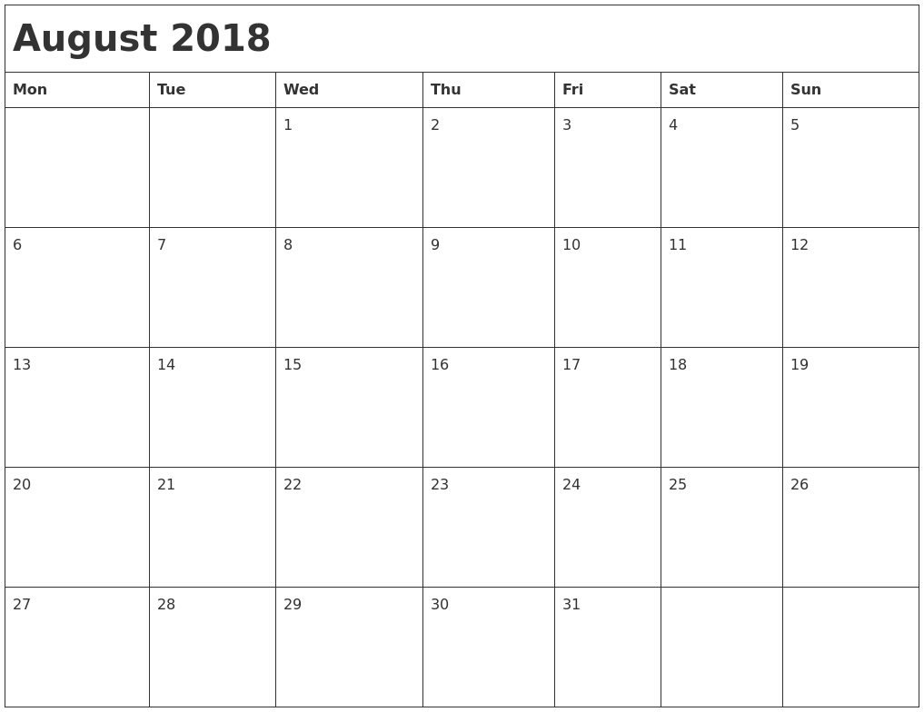 August 2018 Monthly Monday Through Friday Calendar – Template  Calendar By Month Monday To Friday