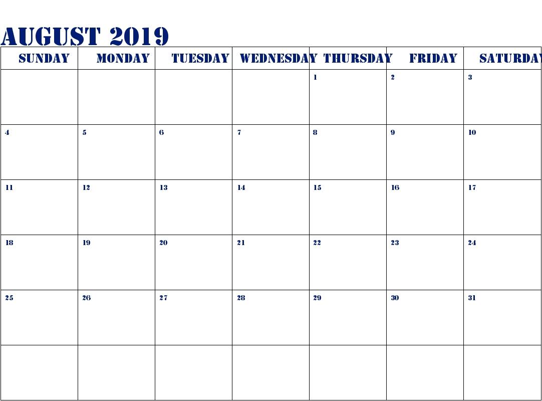 August 2019 Printable Calendar | Free Editable Calendar & Printable  August Printable Images To Color