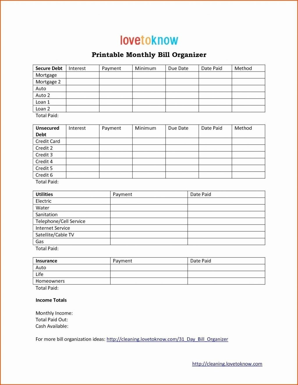 Bill Pay Template Monthly Calendar Printable Luxury Payment  Microsoft Excel Bill Organizer Blank