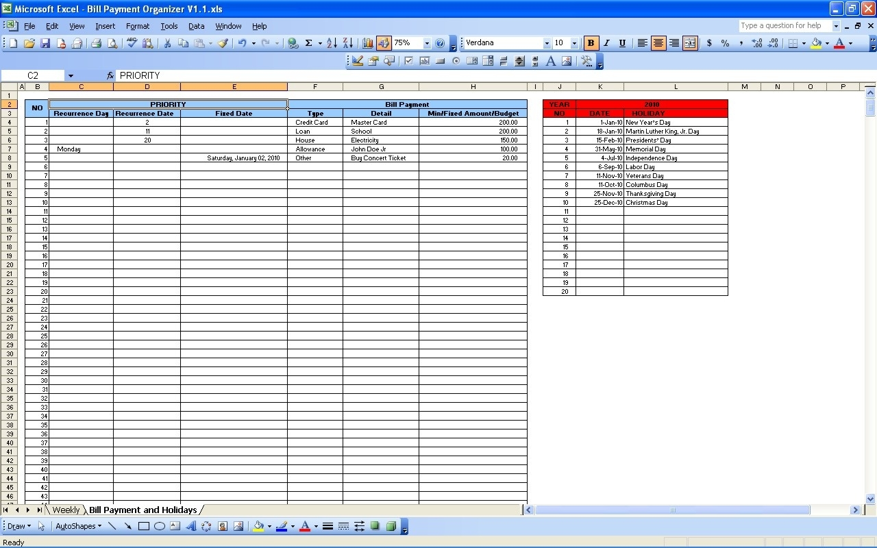 Bill Payment Calendar | Excel Templates  Microsoft Excel Bill Organizer Blank