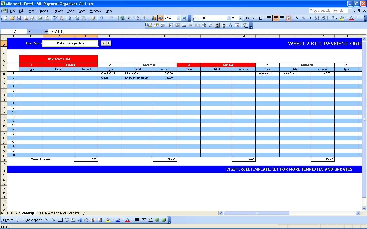 Bill Payment Calendar | Excel Templates  Pay My Bill Organizer Sheet