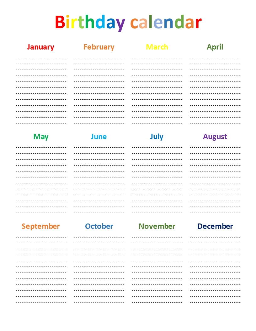 Birthday Calendar Rainbow Color Chart - Download This Free Printable  Free Printable Birthday Chart Templates