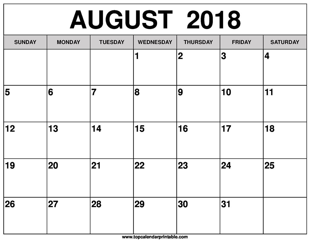 Blank August 2018 Calendar Printable  Picture Of August On Calendar