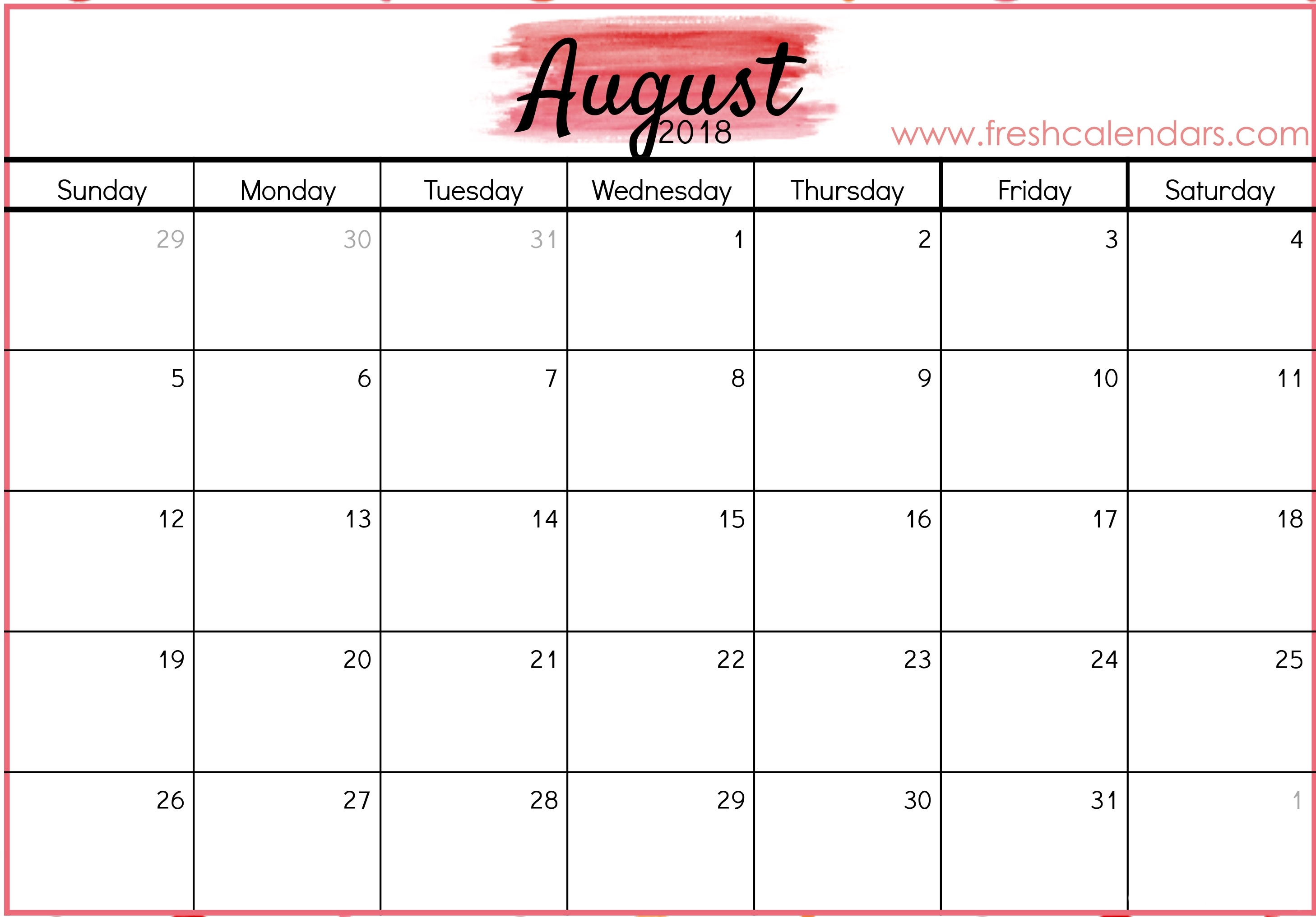 Blank August 2018 Calendar Printable Templates  Picture Of August On Calendar