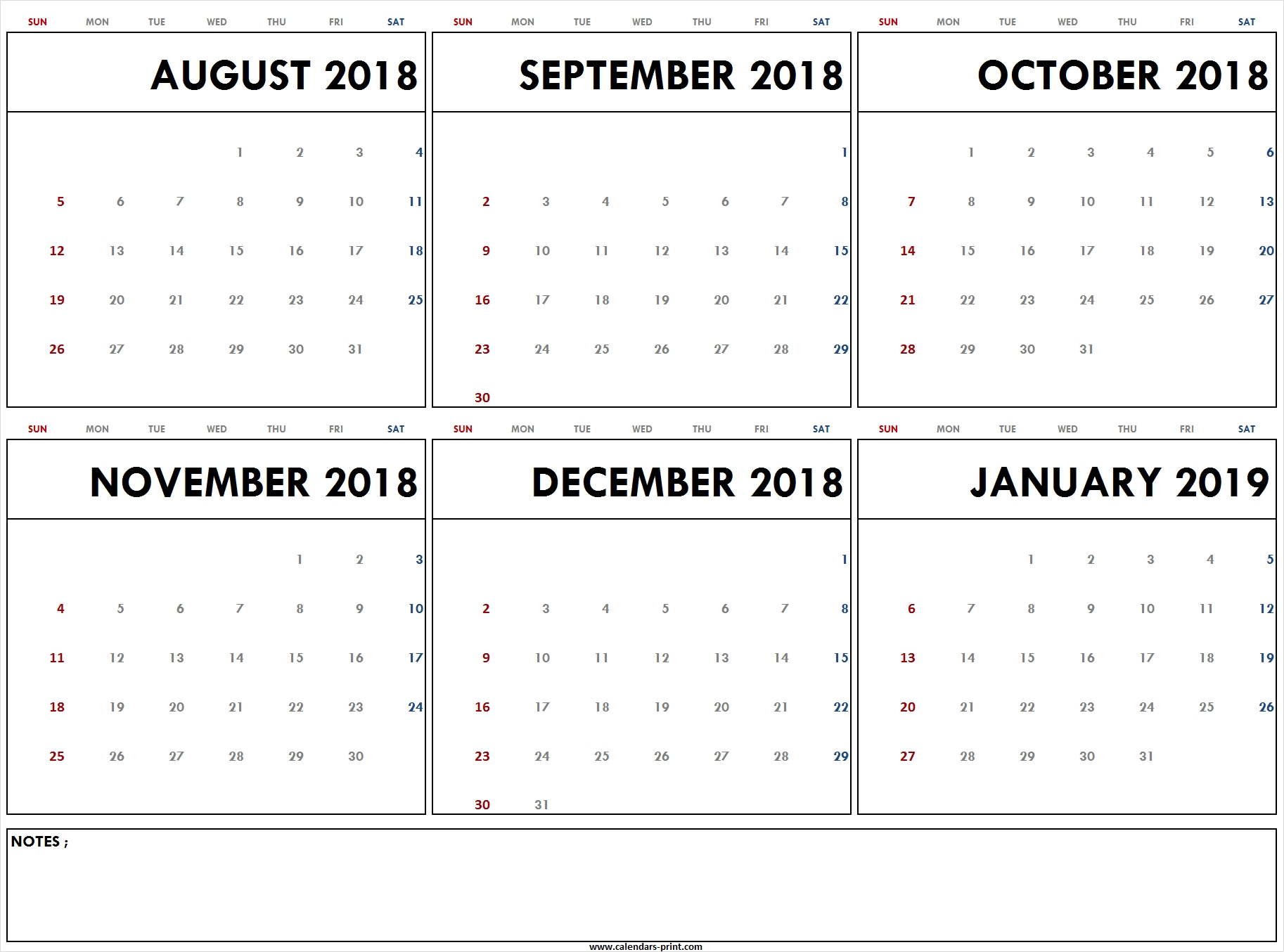 Blank August 2018 To January 2019 Calendar Printable | Pdf | Jpg | Png  Calendar Images From Jan To Dec