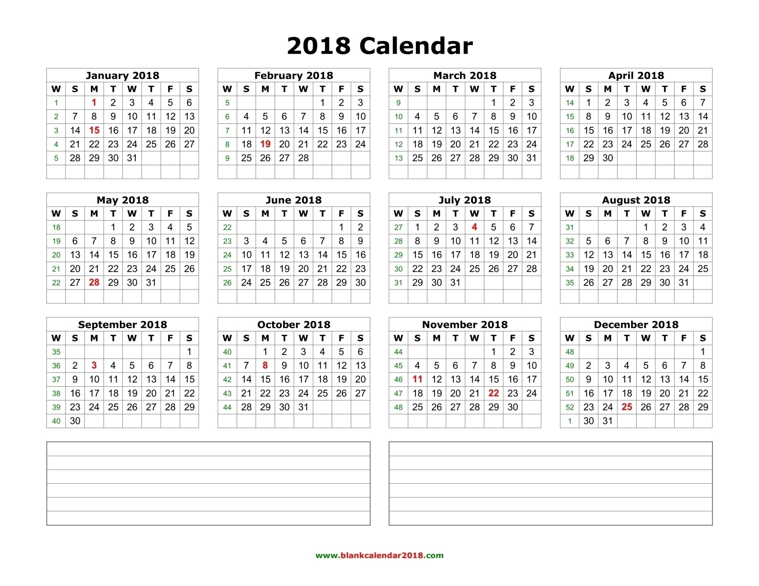 Blank Calendar 2018  12 Month Calendar With Room For Notes