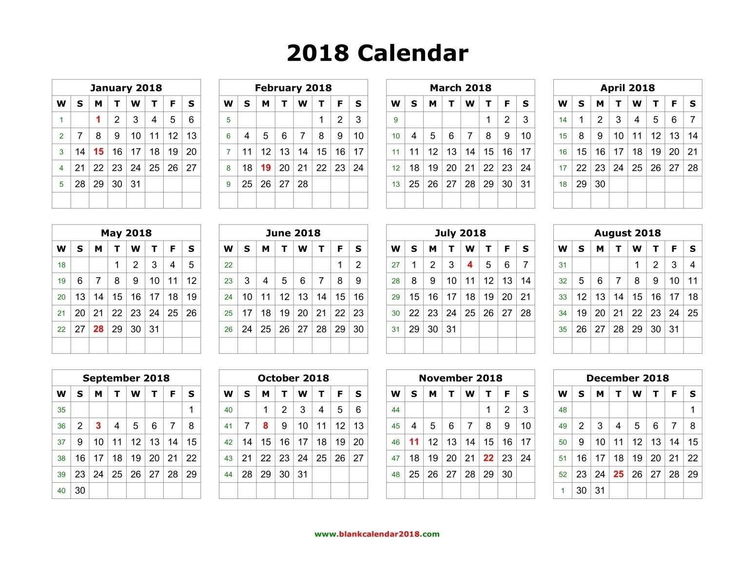 Blank Calendar 2018  12 Month Calendar Word Template