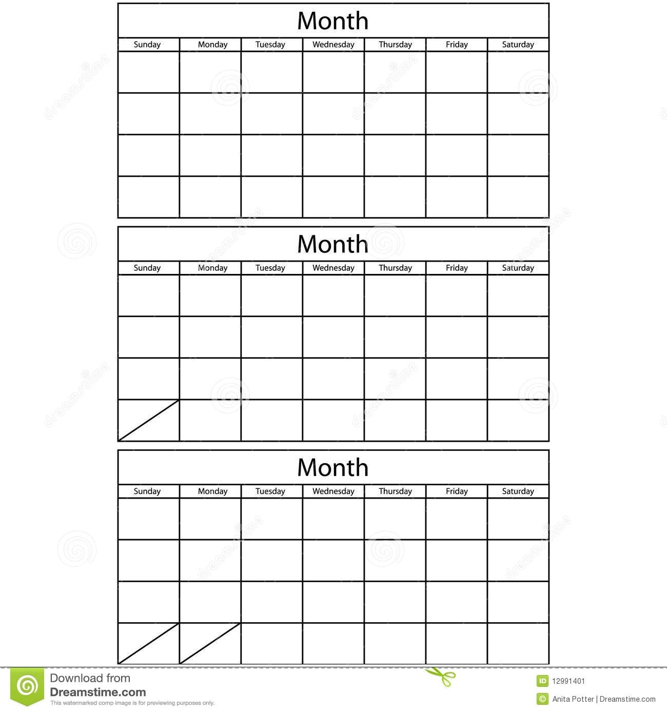 Blank Calendar 3 Templates Stock Vector. Illustration Of Month  Three Month Single Page Calendar