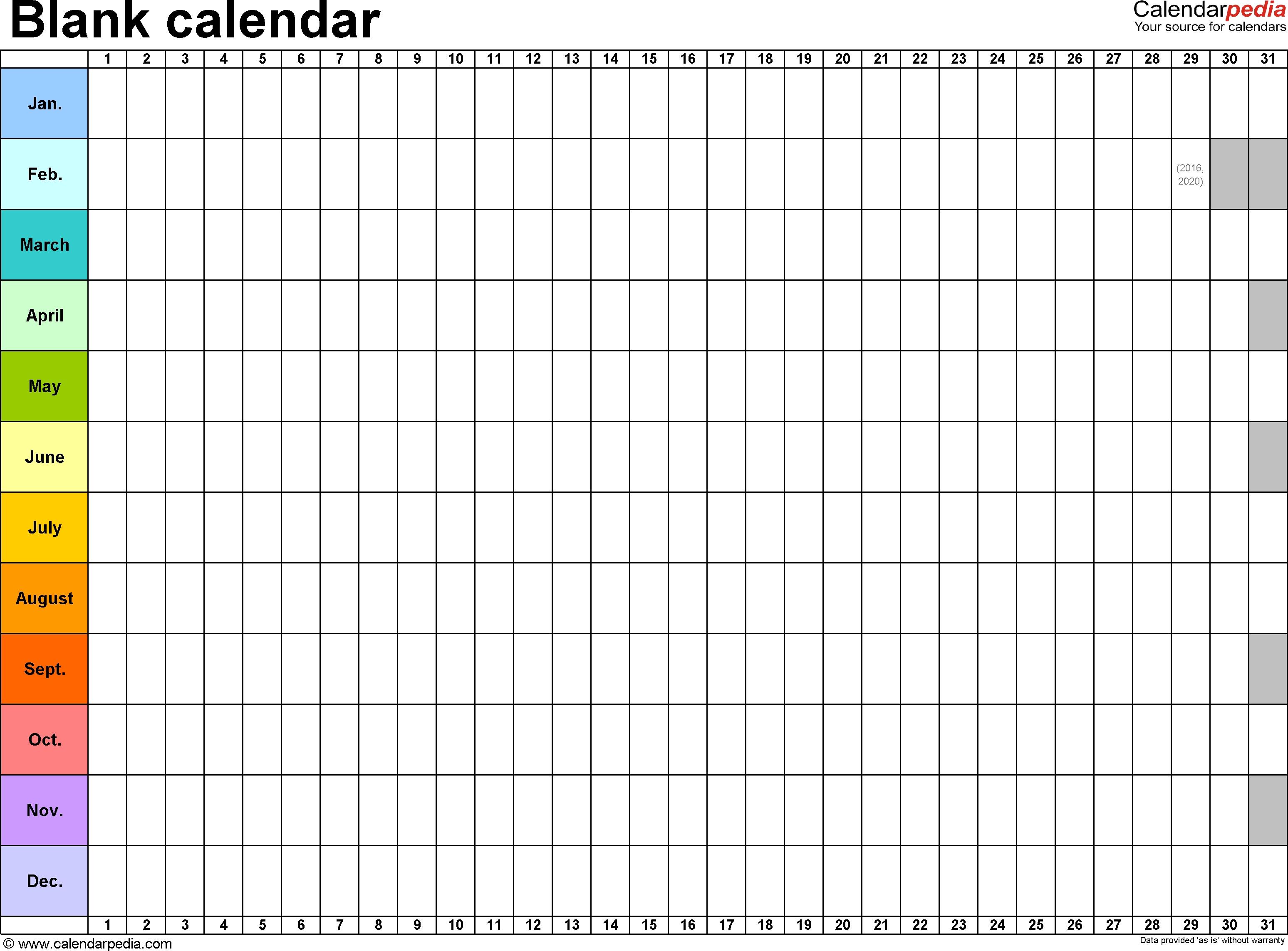 Blank Calendar - 9 Free Printable Microsoft Word Templates  Blank 30 Day Calendar Template
