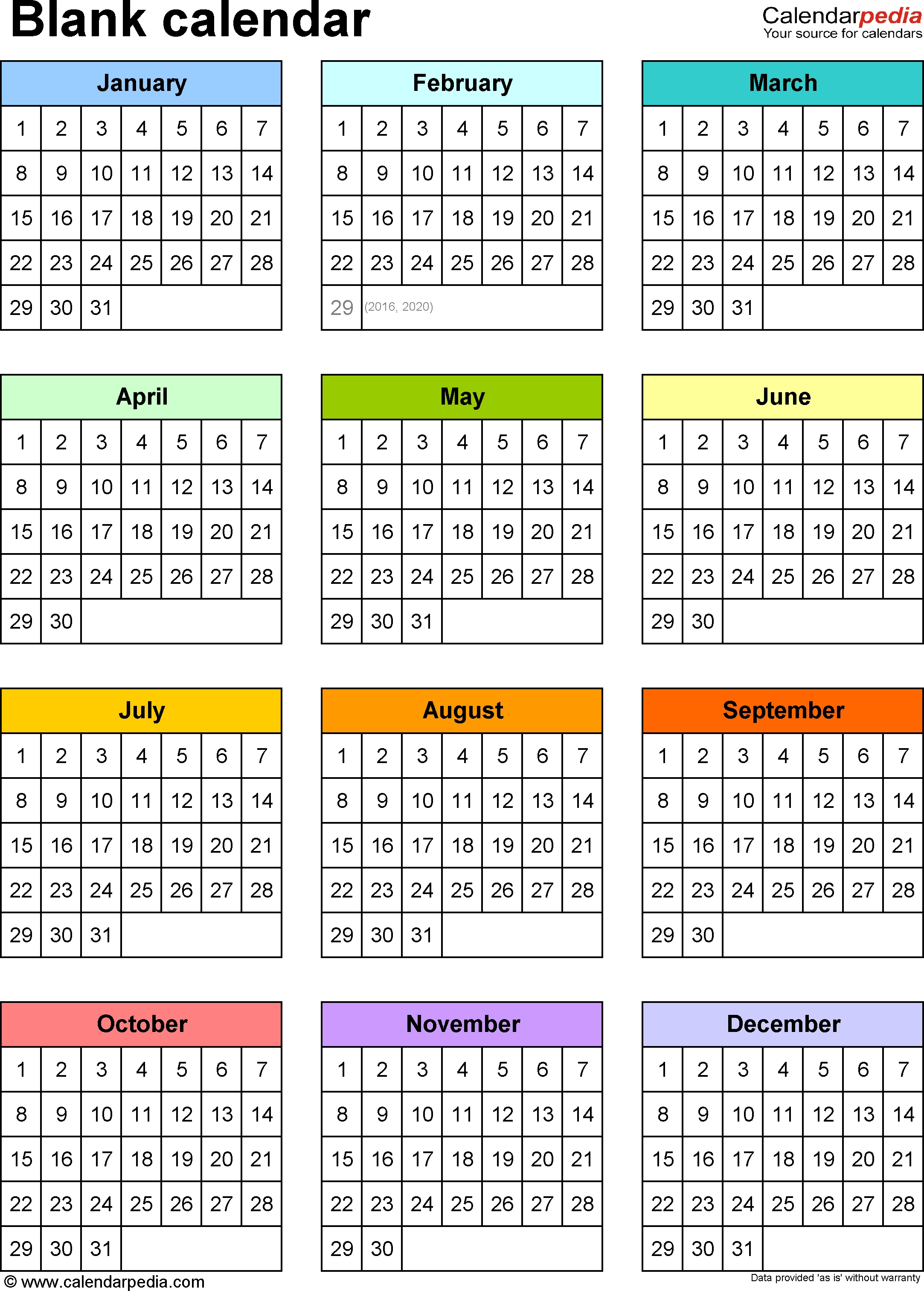 Blank Calendar - 9 Free Printable Microsoft Word Templates  Template For Year At A Glance Calendar