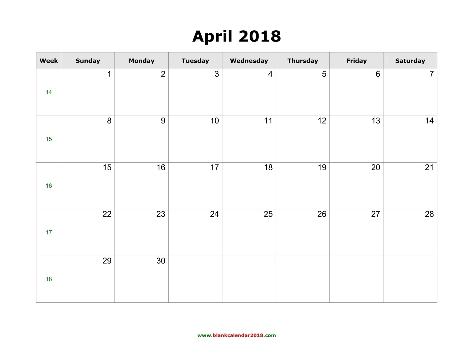 Blank Calendar For April 2018  Blank Calendar With Only Weekdays