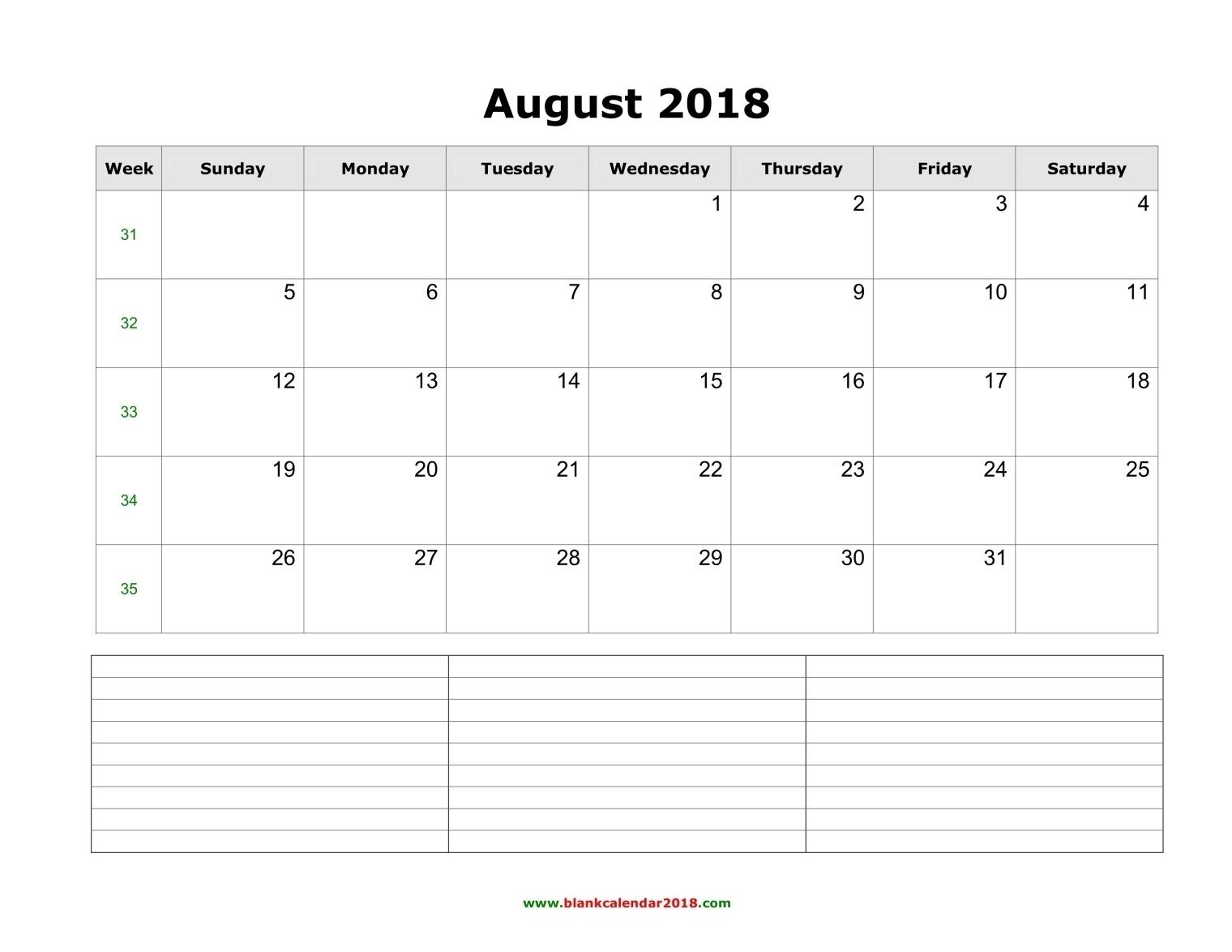Blank Calendar For August 2018  Blank Calendar Template With Notes