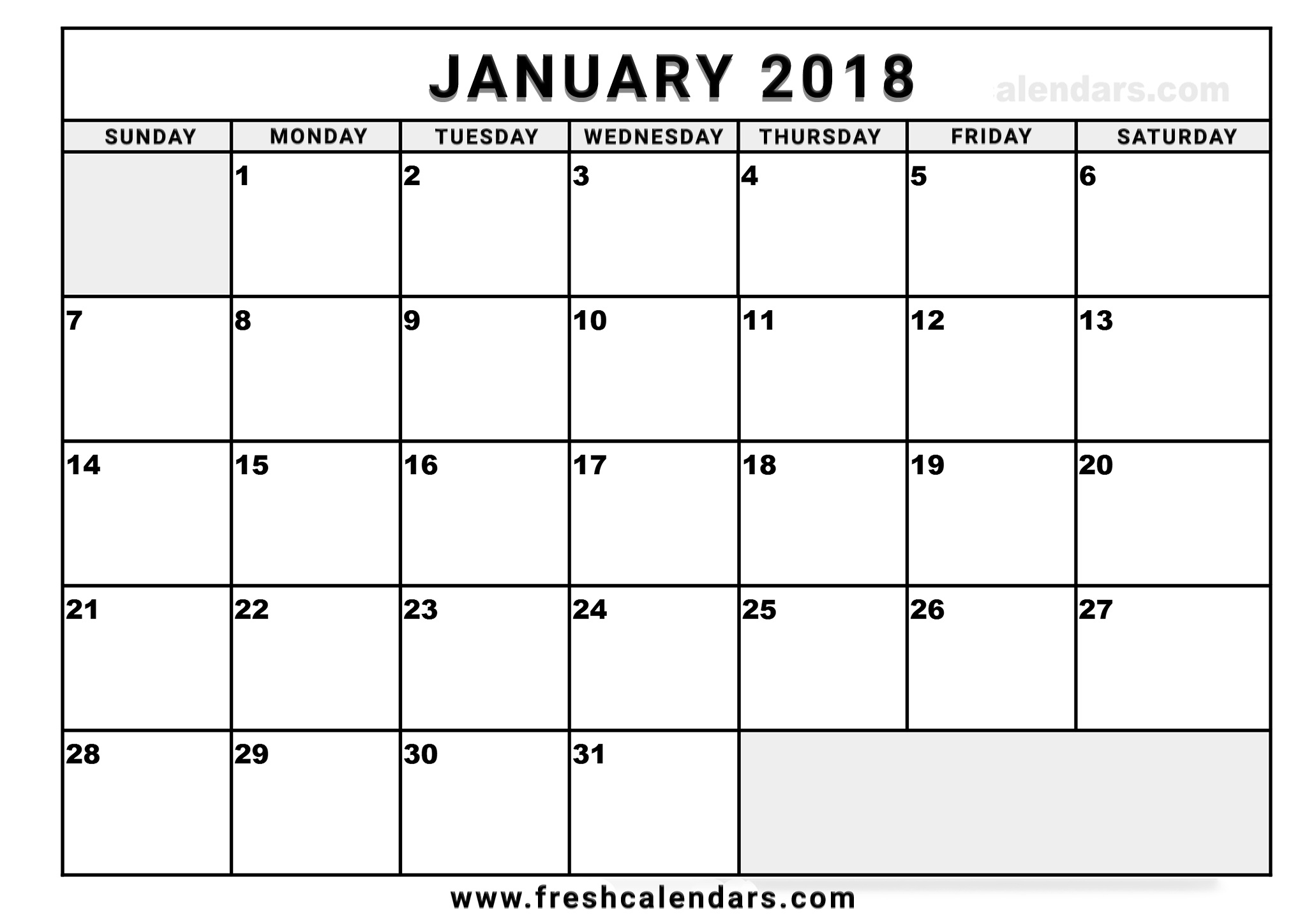 Blank January Calendar 2018 - Tombur.moorddiner.co  Fill In Calendar Template Printable