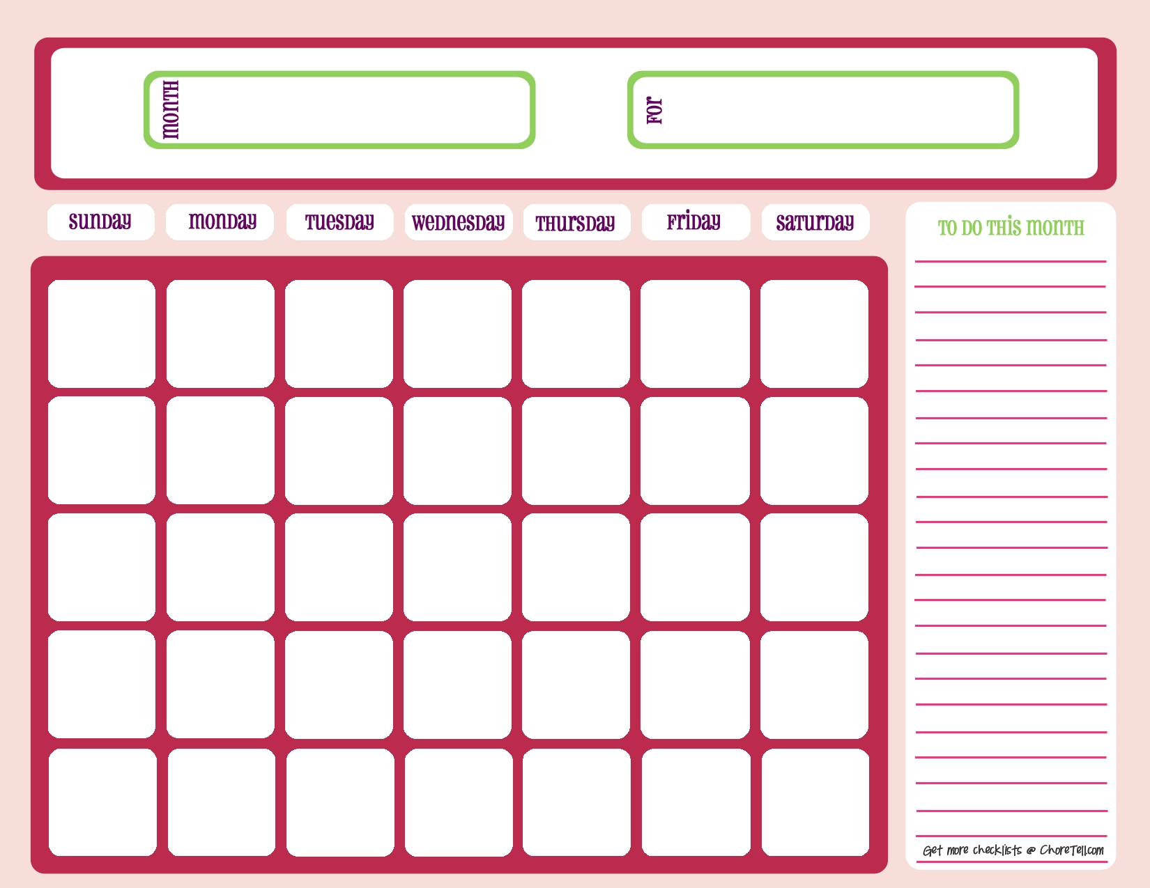 Blank Month Calendar - Pinks - Free Printable Downloads From  Blank One Month Calendar Template