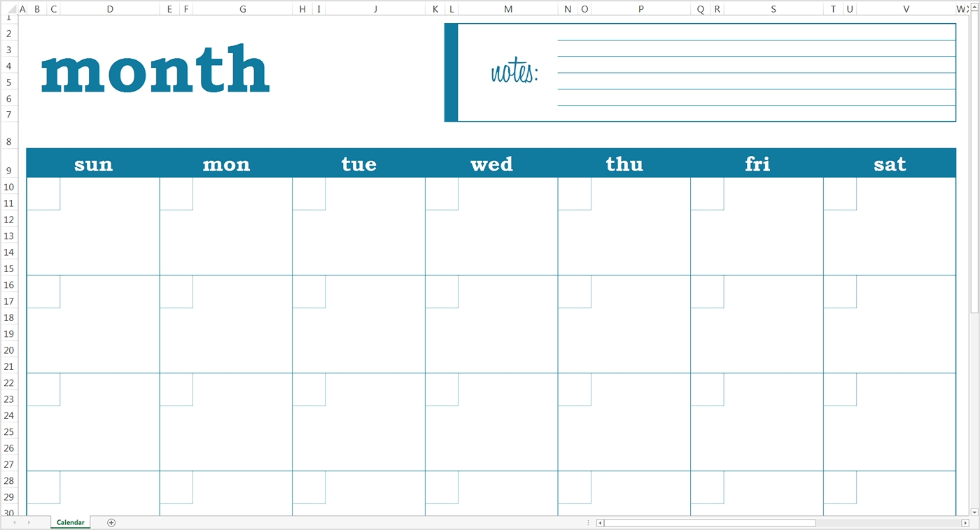 Blank Monthly Calendar - Excel Template - Savvy Spreadsheets  Blank Excel Spreadsheet With Calendar