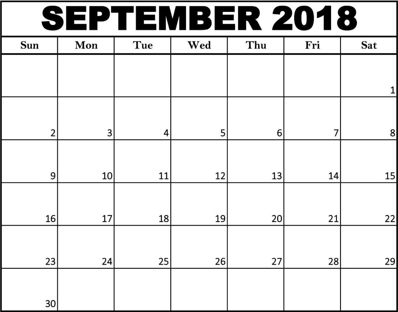 Blank September 2018 Calendar Printable Free – Printable Calendar  Blank Calendar To Fill In Free