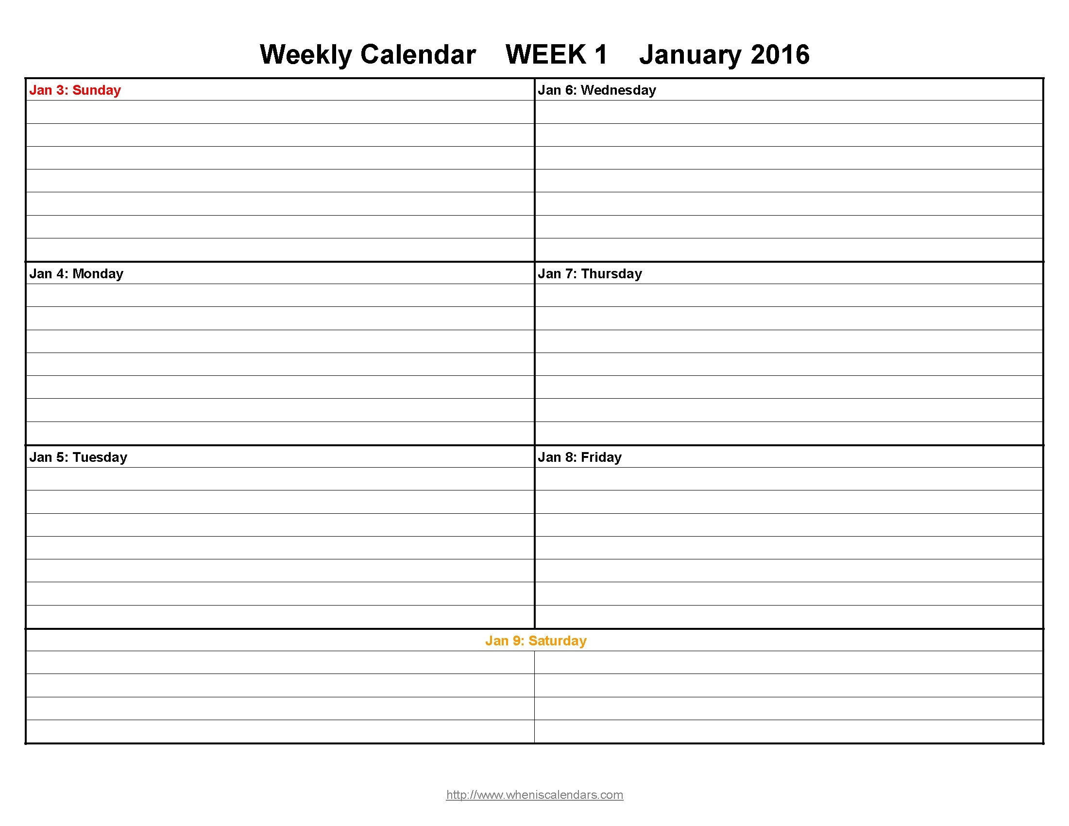 Blank Weekly Calendar With Note Space – 2018 Calendar Template  Blank Calendar Template With Notes