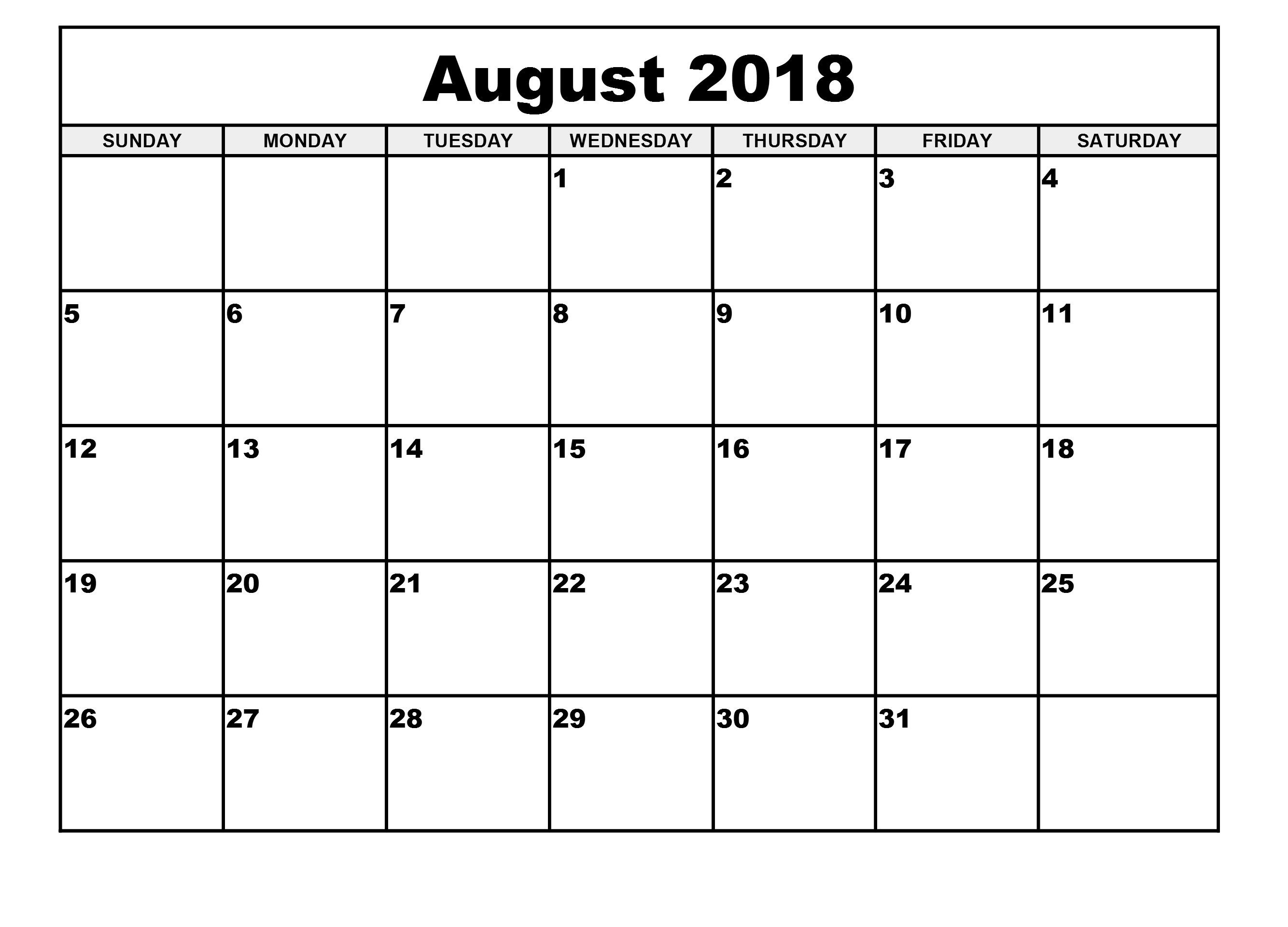 Calendar 2018 August Blank Printable Template | December 2018  Blank Printable Calendar By Month