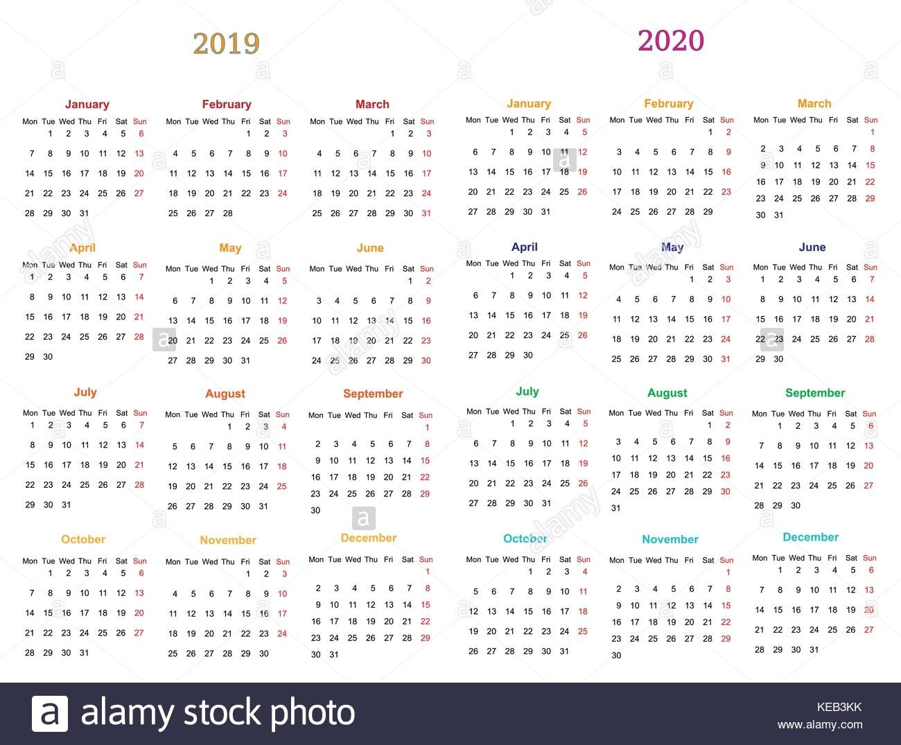 Calendar 2020 Stock Vector Images - Alamy  Printable Neon 12 Month Blank Calendar