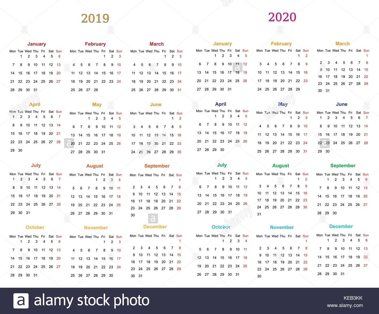 Calendar 2020 Stock Vector Images - Alamy  Printable Neon 12 Month Blank Calendar