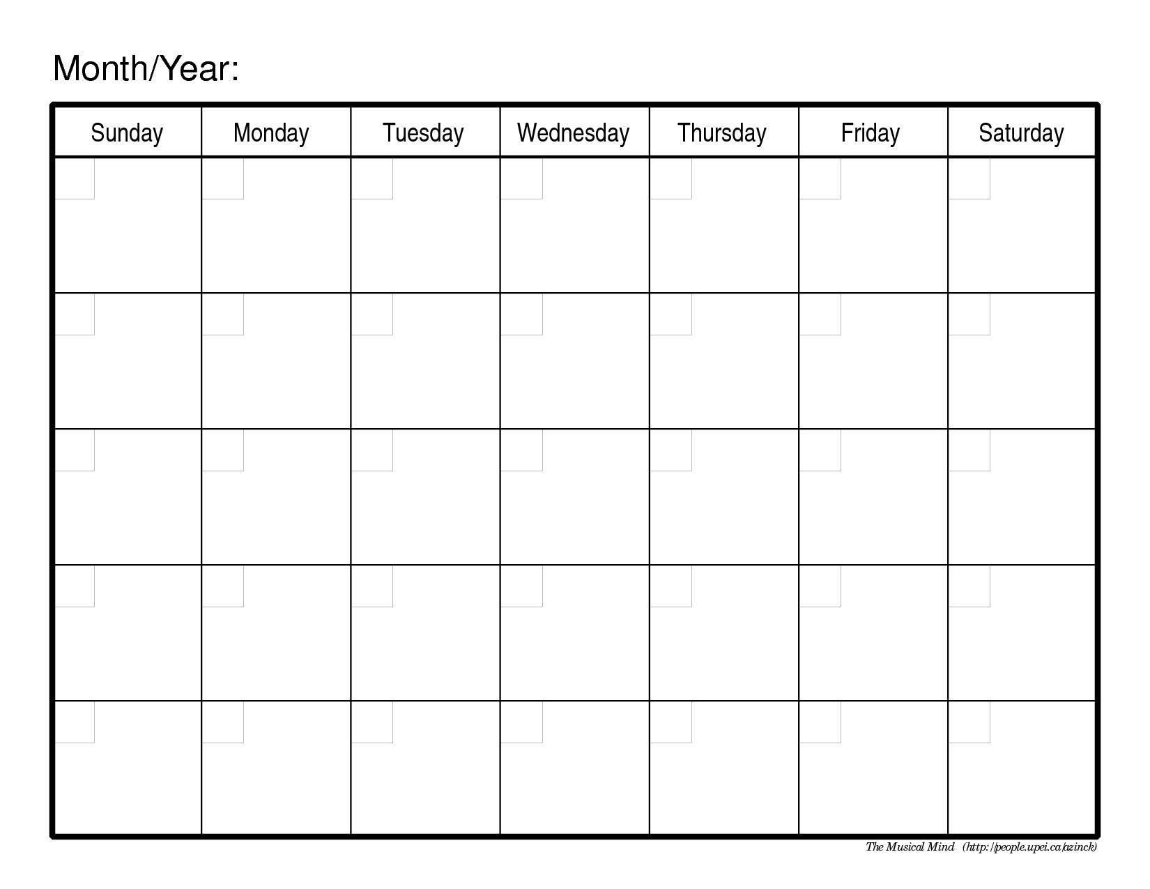 Calendar Template - Yangah Solen  Blank One Month Calendar Template
