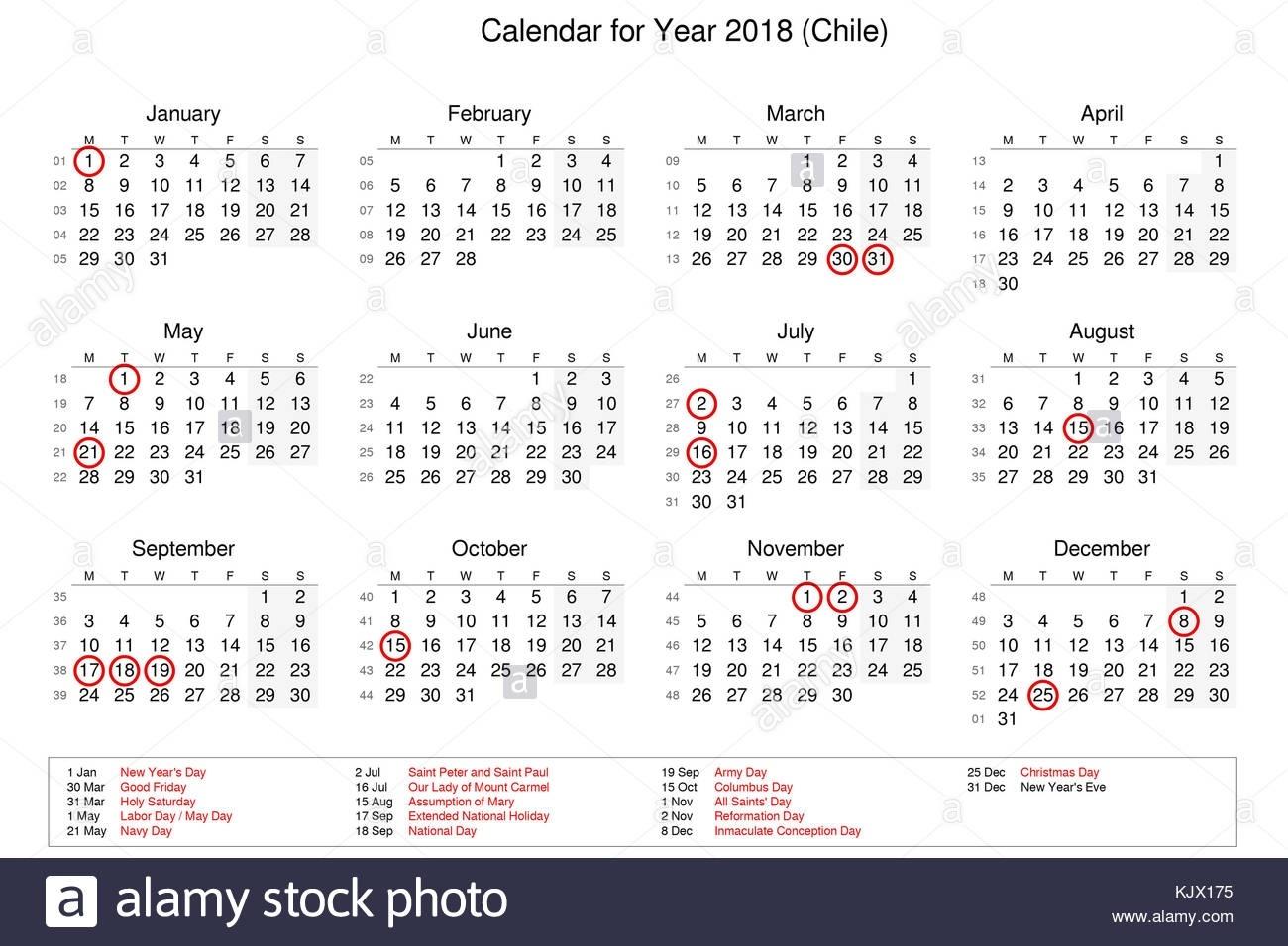 Calendario Del Año 2018 Con Los Feriados Y Días Festivos Para Chile  Calendarios 17 Feriados En Chile