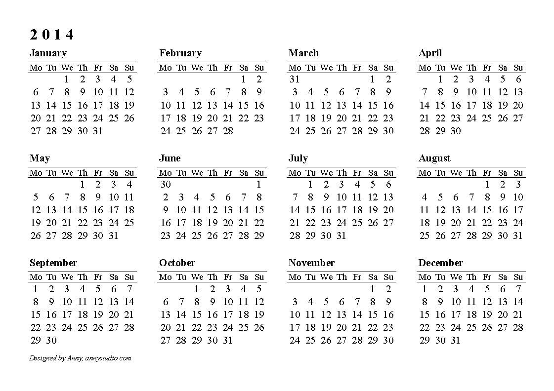 Calendarlabs 2014 Free Printable Yearly Calendar Online At Year  2014 Calendar Printable Yearly Calendars