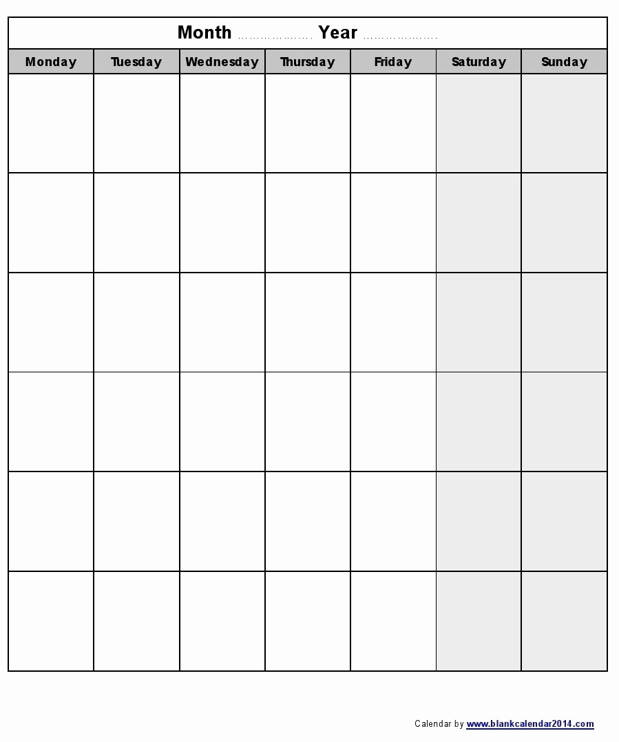 Calendarmonth Monday To Friday   Blank Calendar Template  Calendar By Month Monday To Friday