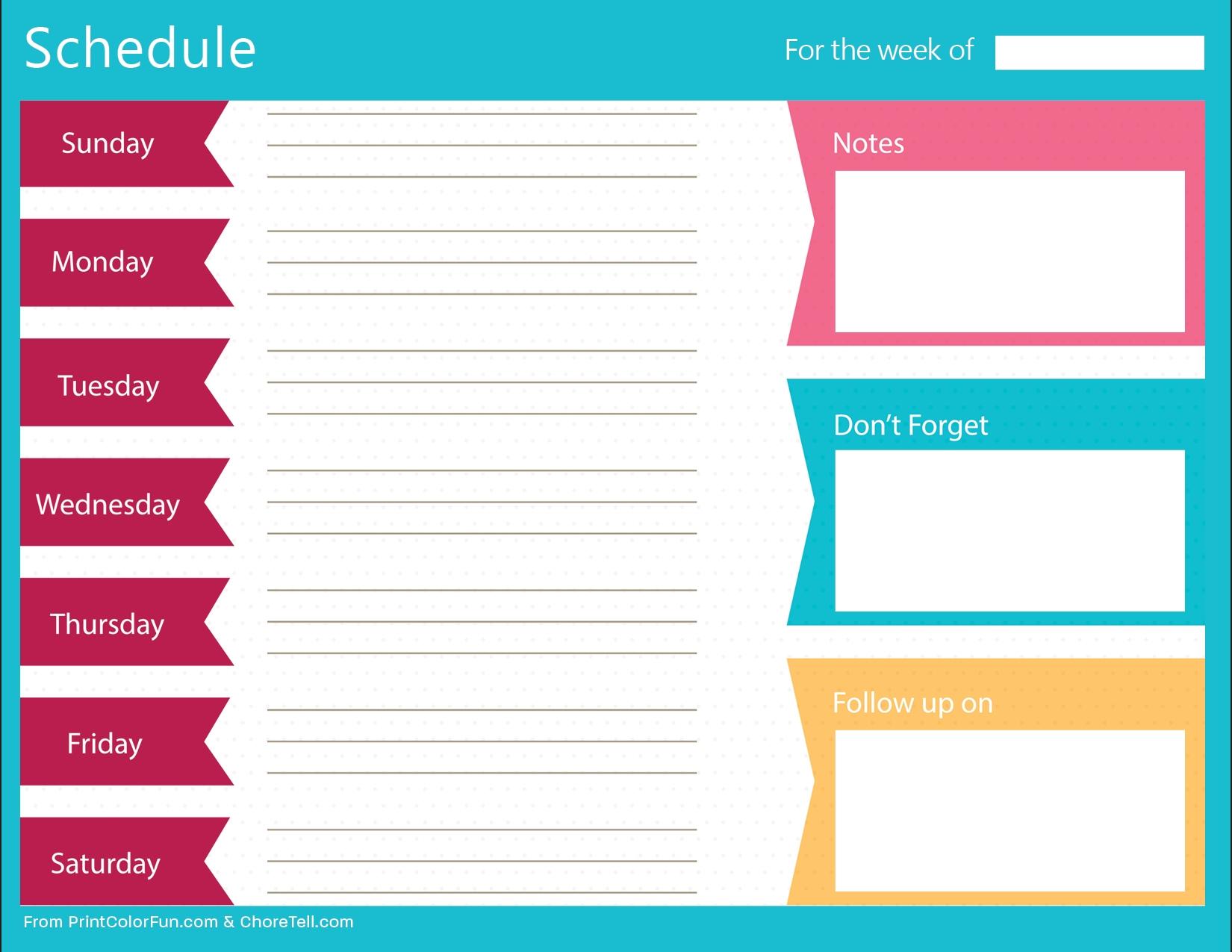 Clean, Bold Printable Weekly Schedule Planner - Free Printable  Free Printable Blow Up Calendar