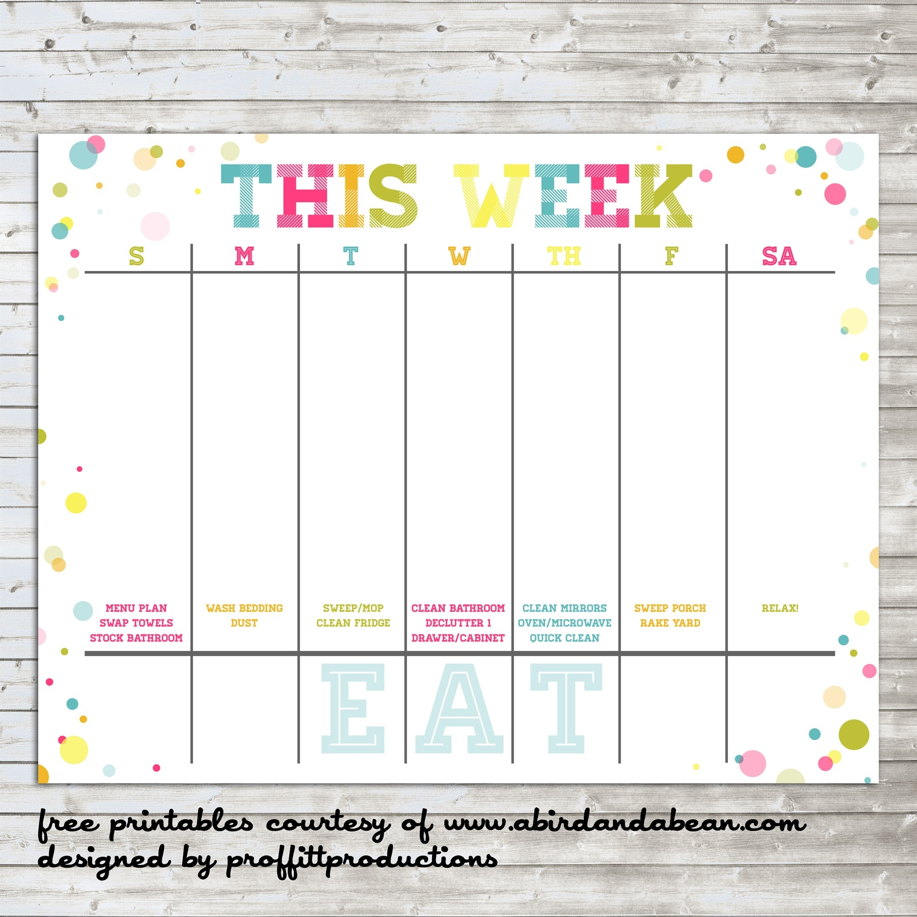 Colorful Weekly Calendar :: Free Printable  Free Printable Weekly Planner Calendars