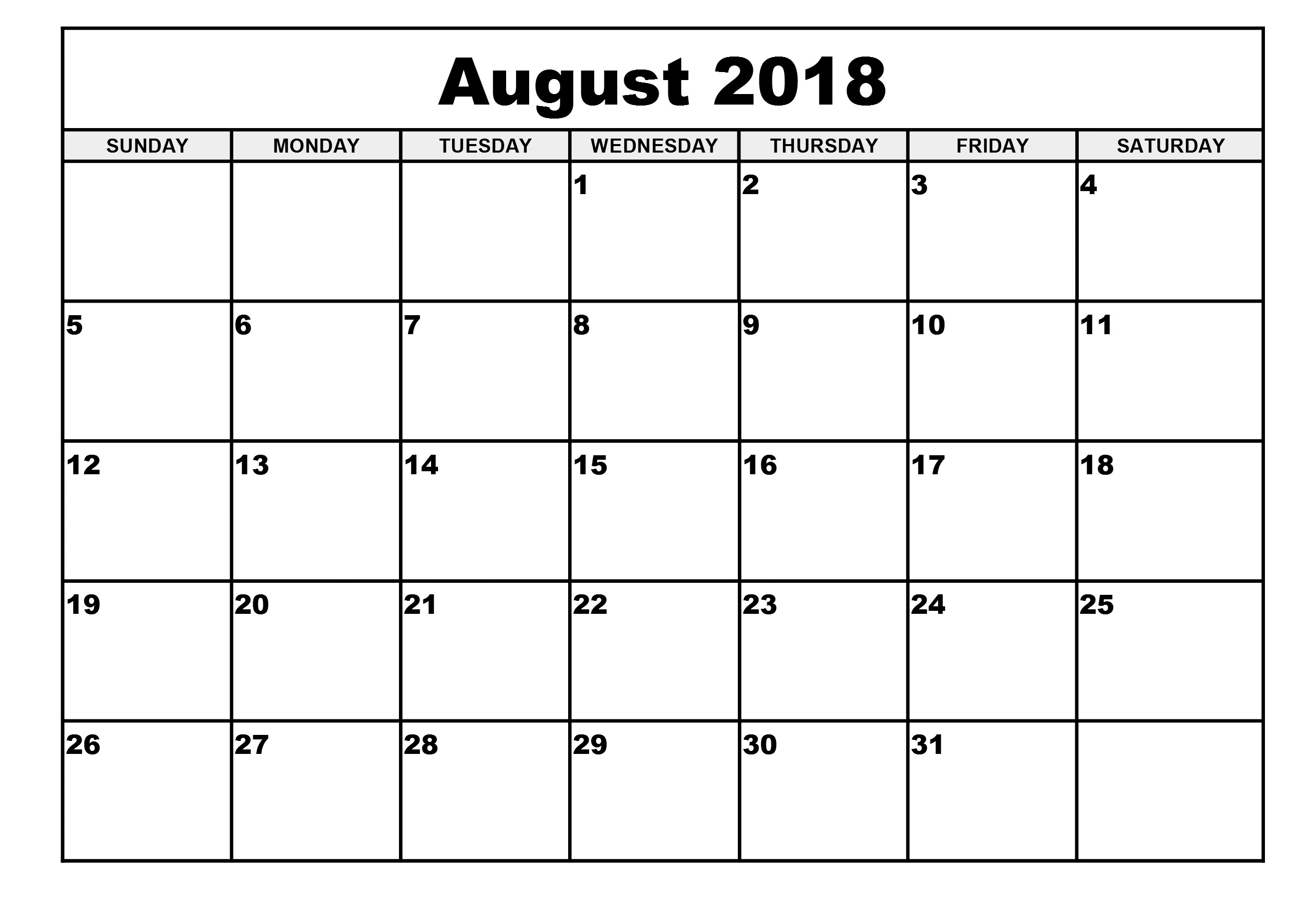 Download August 2018 Calendar - Printable Blank & Editable  Picture Of August On Calendar