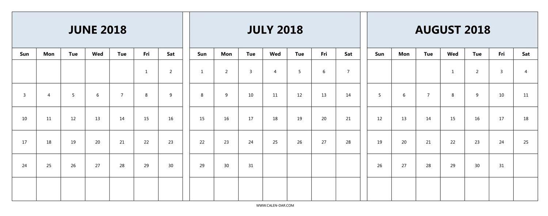 Download June July August 2018 Calendar Printable Free | 2018  July And August Blank Calendar