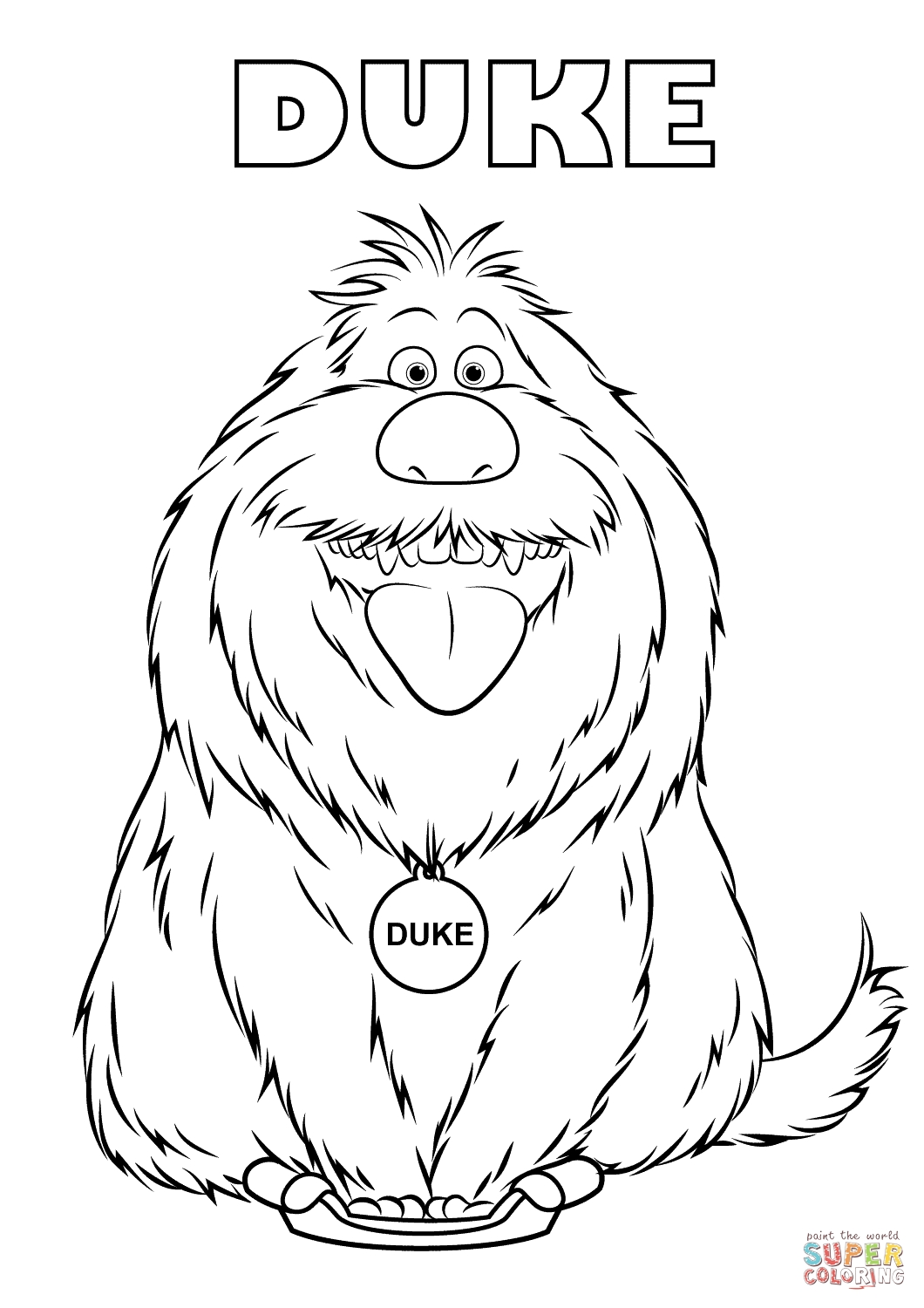 Duke From The Secret Life Of Pets Coloring Page | Free Printable  August Printable Images To Color